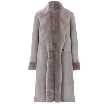 Gushlow and Cole Merino Shearling City Shawl Coat in Lavender Grey