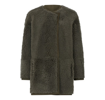 Gushlow and Cole Athena Shearling Collarless Taper Jacket in Moss