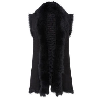 Gushlow and Cole Shearling Mid Knit Back Gilet in Black
