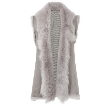 Gushlow and Cole Shearling Mid Knit Back Gilet in Lavender Grey