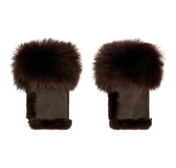 Gushlow and Cole Shearling Cuffed Mini Mittens in Peat
