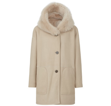 Gushlow and Cole Shearling Parka Coat in Chalk