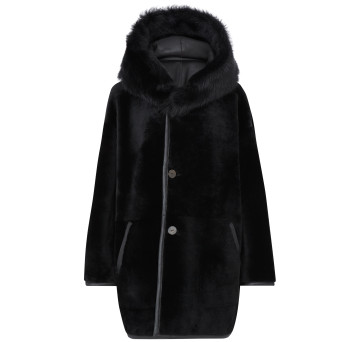 Gushlow and Cole Merino Shearling Parka Coat in Black