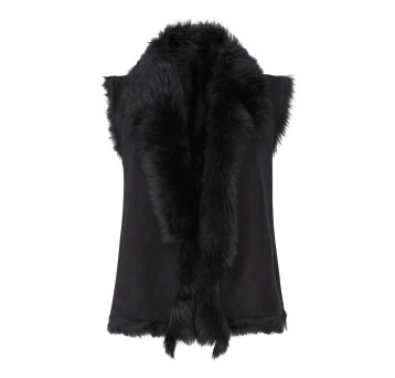 Gushlow and Cole Shearling Rough Cut Gilet in Black