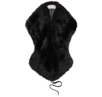 Gushlow and Cole Shearling Shawl Scarf in Black