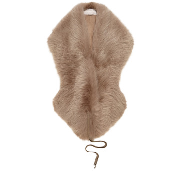 Gushlow and Cole Shearling Shawl Scarf in Fawn