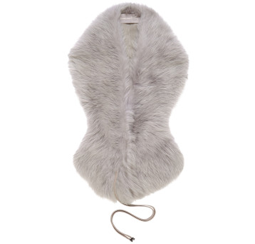 Gushlow and Cole Shearling Shawl Scarf in Lavender Grey