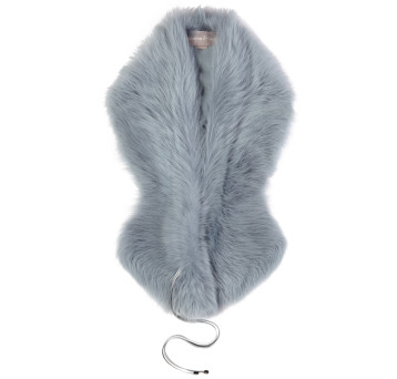 Gushlow and Cole Shearling Shawl Scarf in Pale Blue
