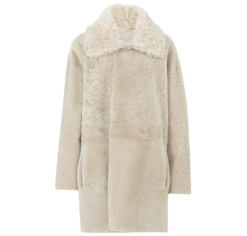 Gushlow and Cole Shearling Taper Coat in Chalk