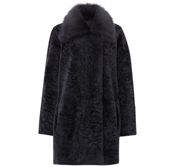 Gushlow and Cole Shearling Taper Coat in Graphite