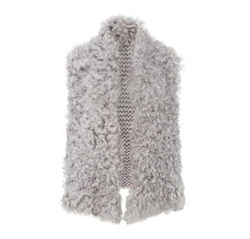 Gushlow and Cole Curly Shearling Knit Back Gilet in Ash