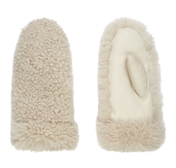 Gushlow and Cole Shearling Fur Out Mittens in Chalk