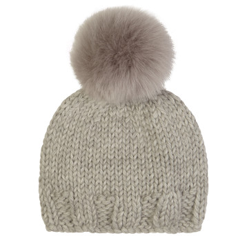 Gushlow and Cole Shearling Knitted Beanie in Lavender Grey