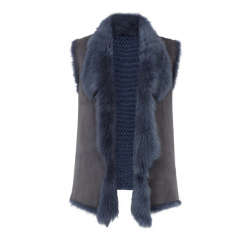 Gushlow and Cole Shearling Knit Back Gilet in Denim