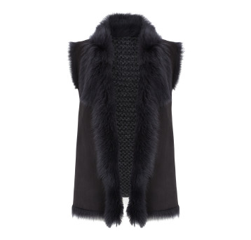 Gushlow and Cole Shearling Knit Back Gilet in Graphite