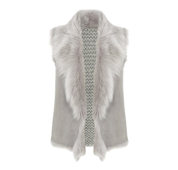 Gushlow and Cole Shearling Knit Back Gilet in Lavender Grey