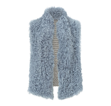 Gushlow and Cole Curly Shearling Knit Back Gilet in Pale Blue