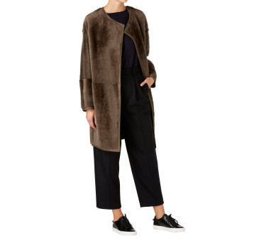 Collarless Shearling Taper Coat Full length