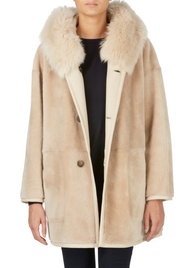 cream reversible shearling parka coat - women | gushlow and cole - cell image 1