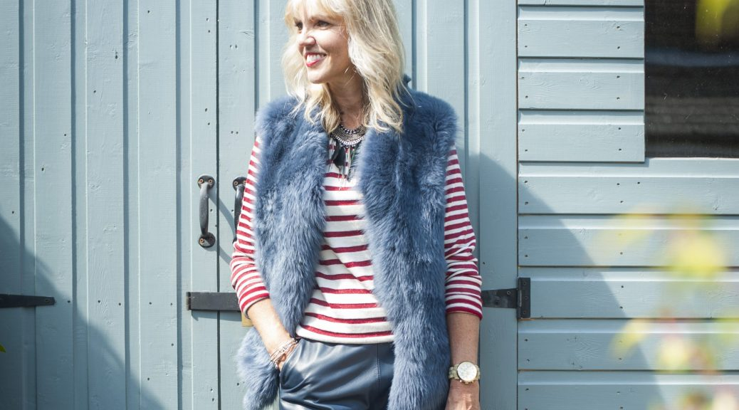 lynne meek wearing denim knit back gilet by gate