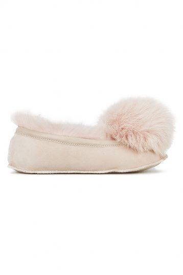 pink Shearling Ballet Slippers - women | gushlow and cole - cell image 2