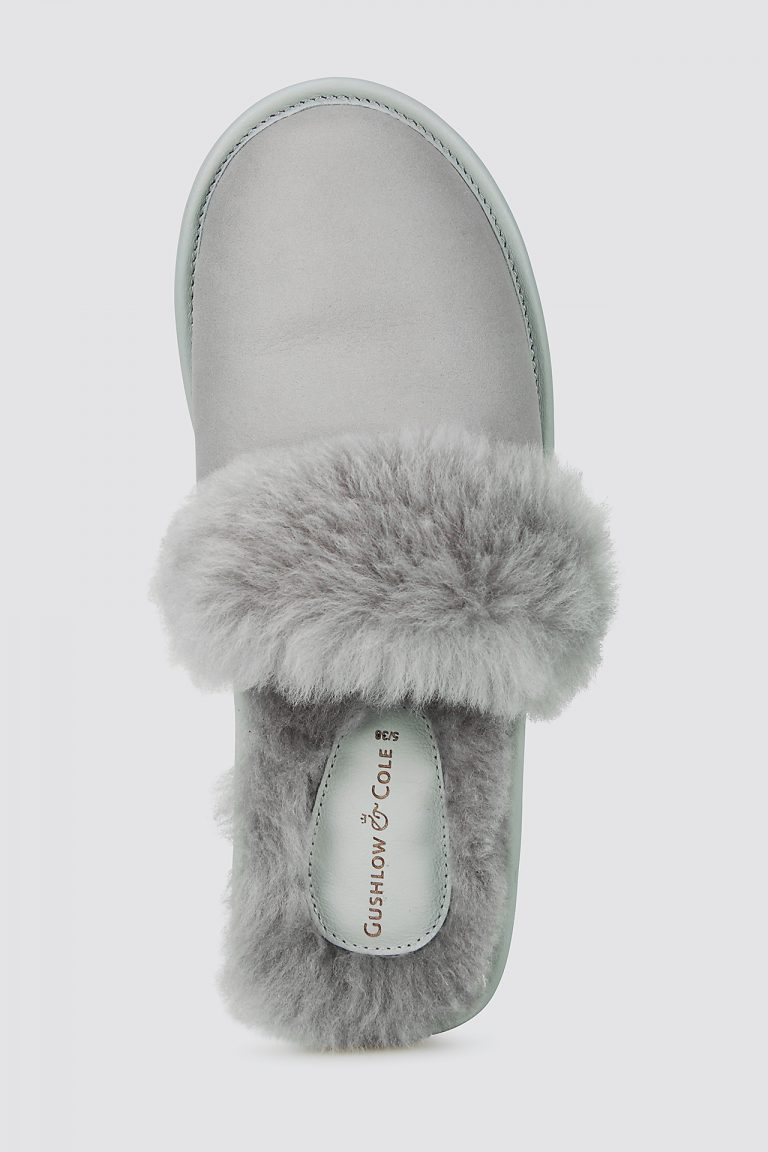 grey shearling travel slider slippers - women | gushlow and cole - cell image 3