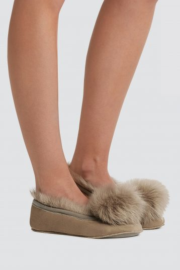 Brown Shearling Ballet Slippers - women | gushlow and cole - cell image 1