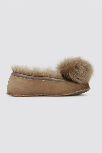 Brown Shearling Ballet Slippers - women | gushlow and cole - cell image 2