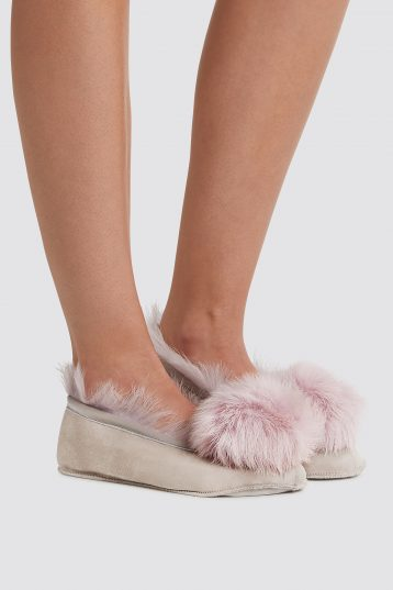 lavender Shearling Ballet Slippers - women | gushlow and cole - cell image 1