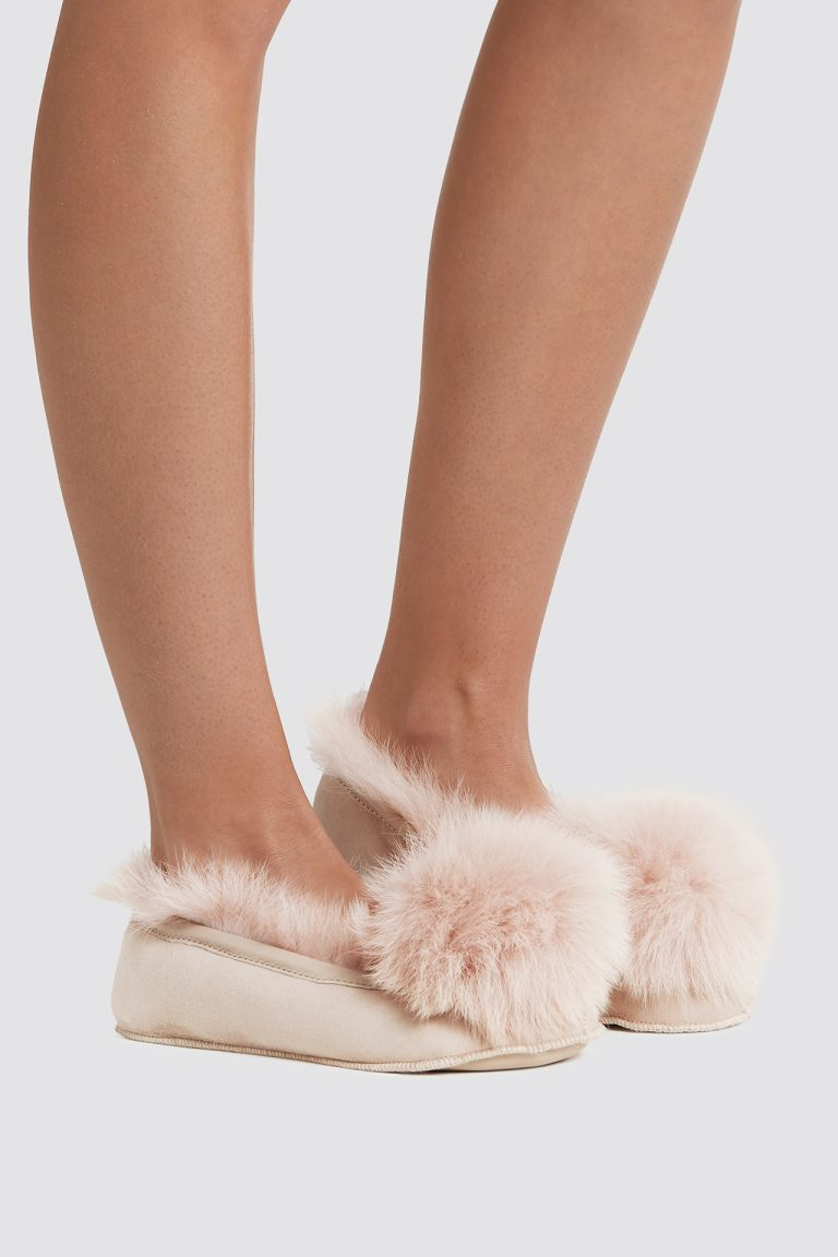 pink Shearling Ballet Slippers - women | gushlow and cole - cell image 1