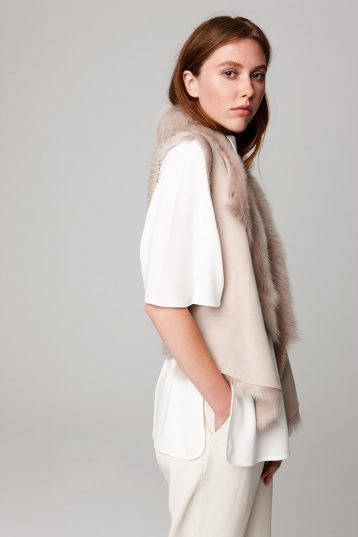 shearling and hand knit gilet in beige - women | gushlow and cole - cell image 4