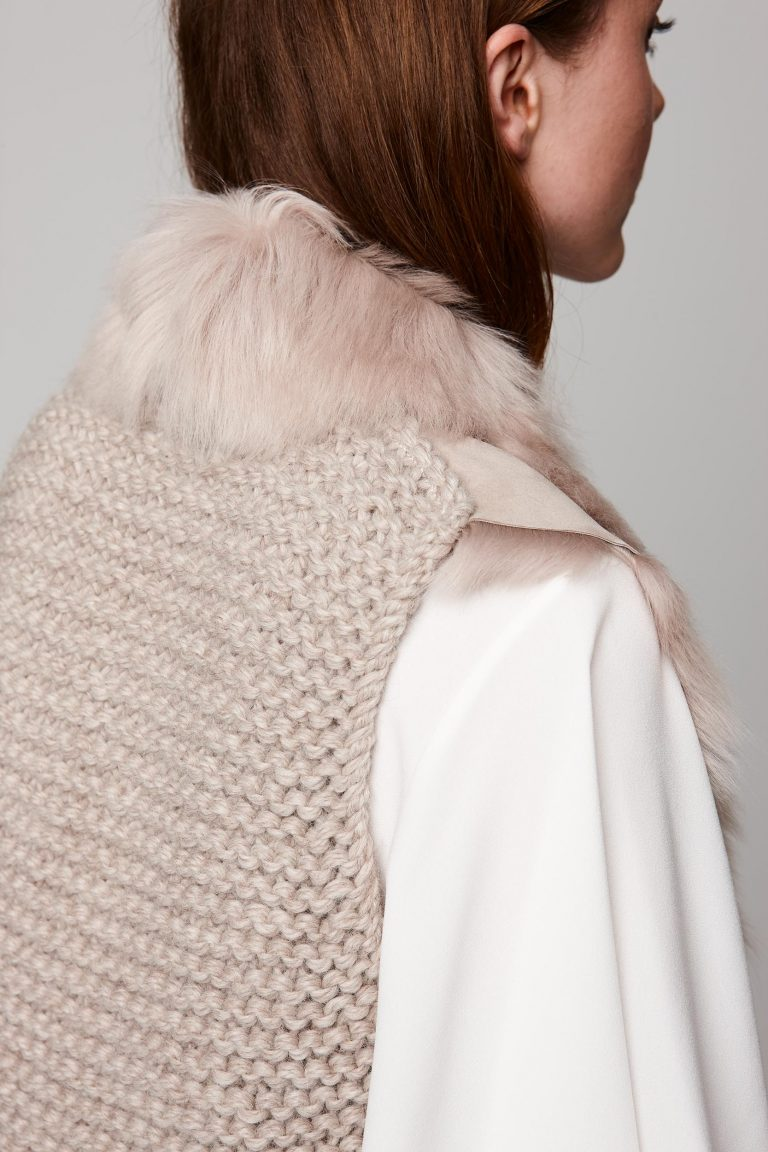 shearling and hand knit gilet in beige - women | gushlow and cole - cell image 5