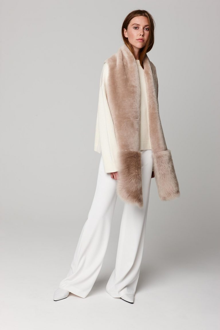 beige shearling mixed texture scarf - women | gushlow and cole - cell image 1