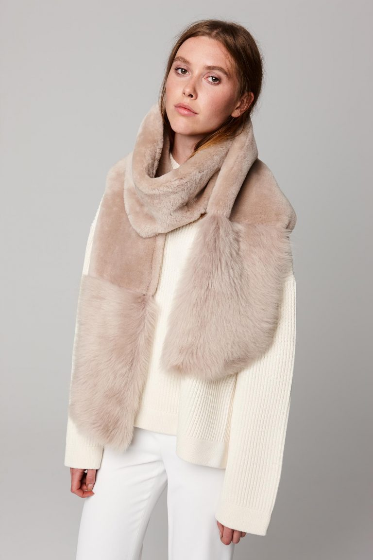 beige shearling mixed texture scarf - women | gushlow and cole - cell image 2