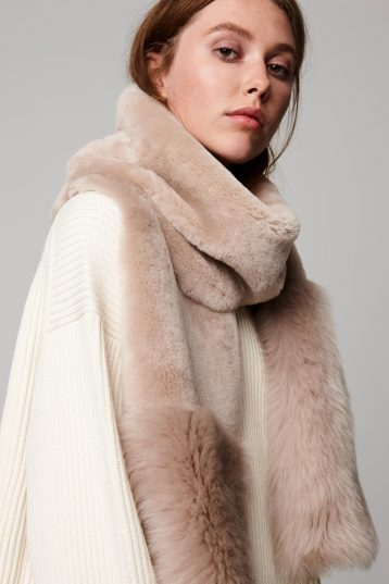 beige shearling mixed texture scarf - women | gushlow and cole - cell image 3