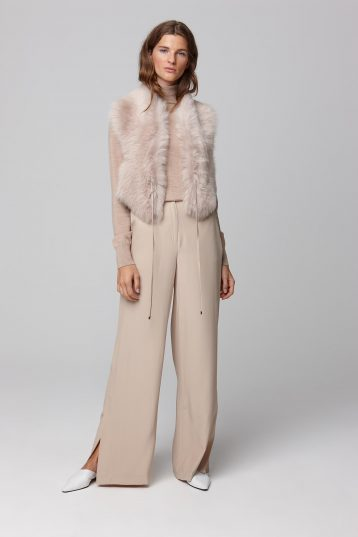 beige shearling shawl scarf with leather tie - women | gushlow and cole - cell image 1
