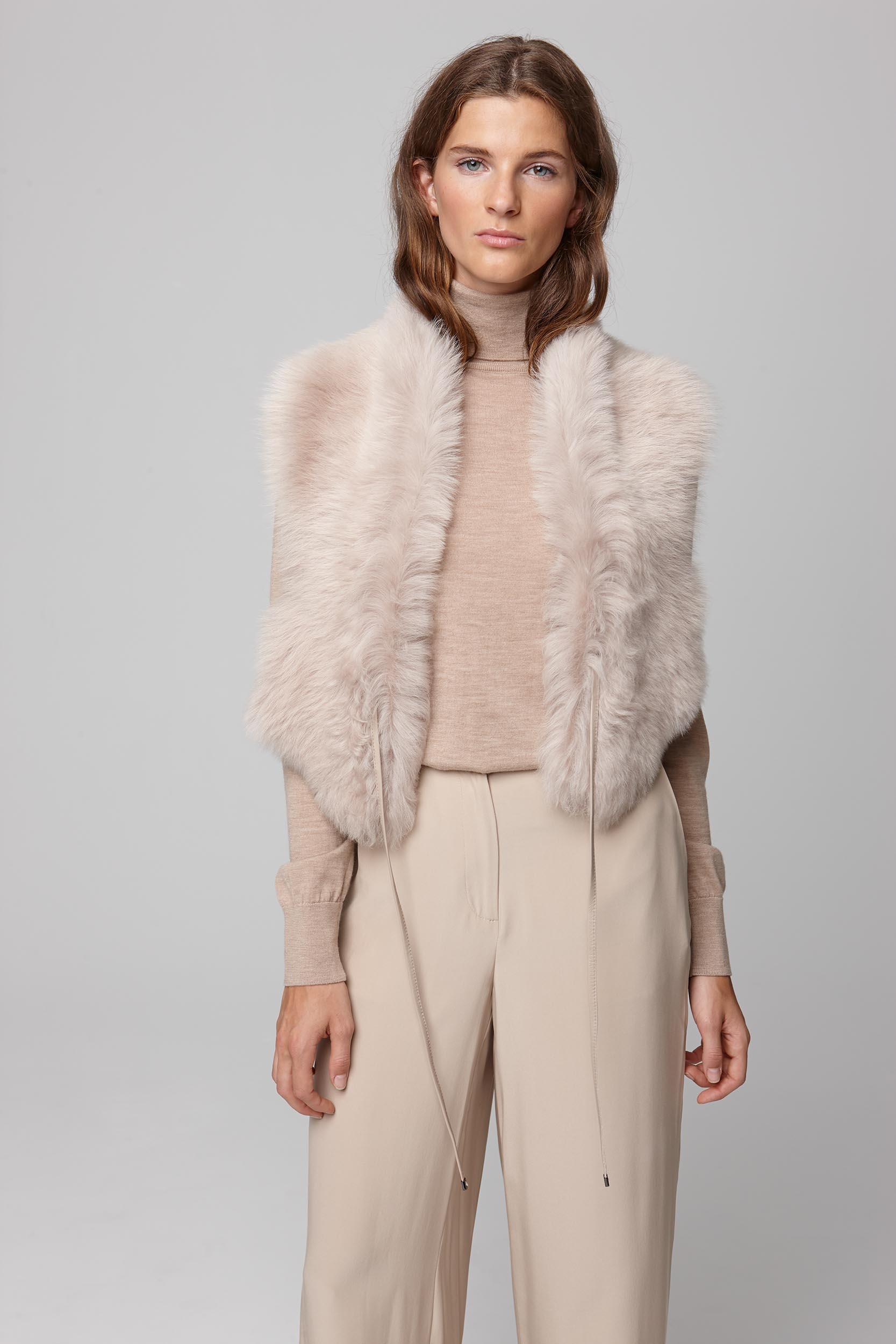 beige shearling shawl scarf with leather tie - women | gushlow and cole - cell image 2