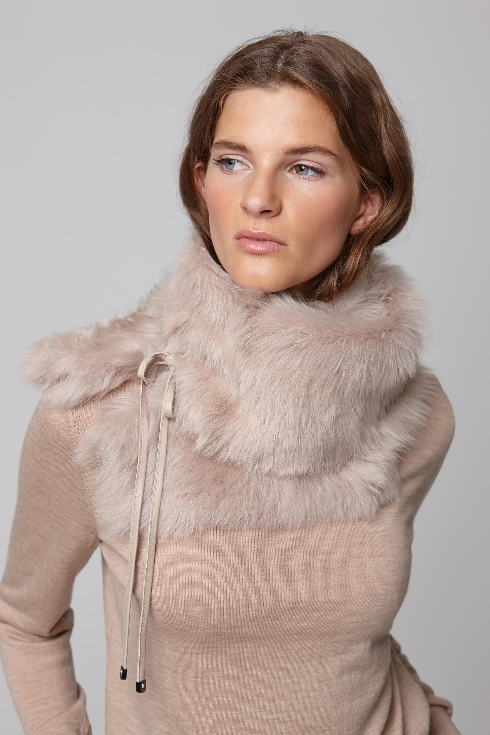 beige shearling shawl scarf with leather tie - women | gushlow and cole - cell image 3