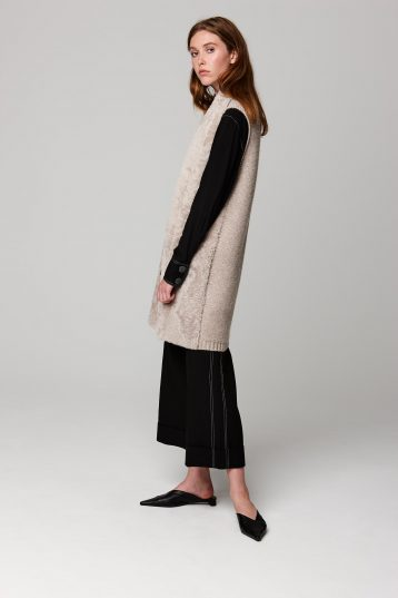 stand collar shearling and knit gilet in beige - women | gushlow and cole - cell image 2