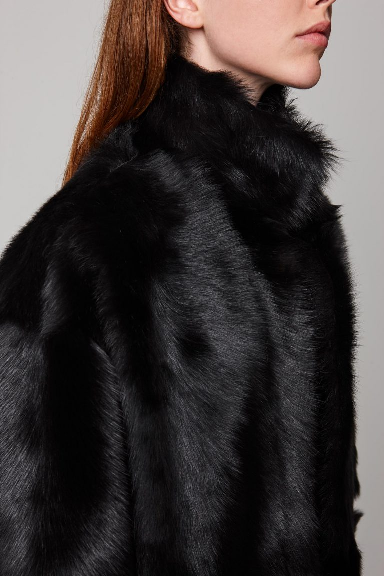funnel collar shearling jacket in black - women   gushlow and cole - cell image 2