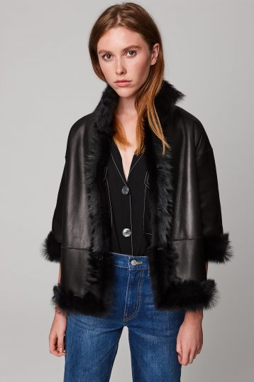 funnel collar shearling jacket in black - women | gushlow and cole - cell image 1