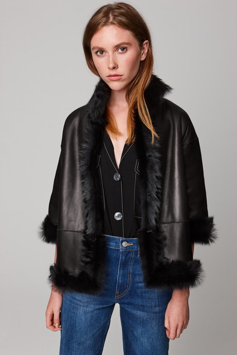 funnel collar shearling jacket in black - women   gushlow and cole - cell image 1
