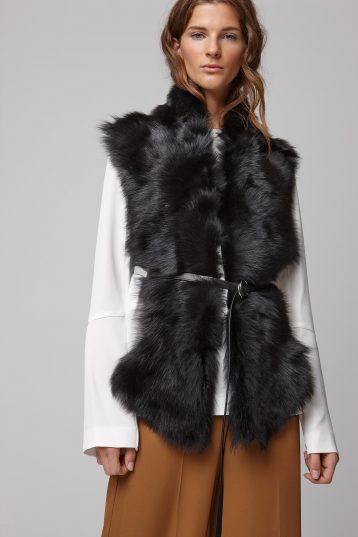 black long shearling scarf with detachable leather belt - women | gushlow and cole - cell image 3