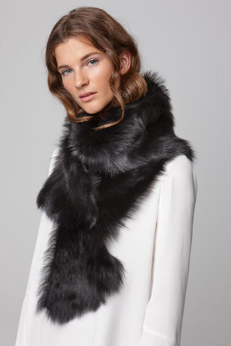 black long shearling scarf with detachable leather belt - women | gushlow and cole - cell image 4