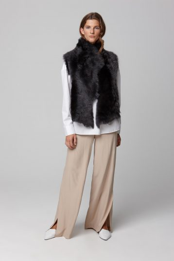 shearling and hand knit gilet in black - women | gushlow and cole - cell image 1