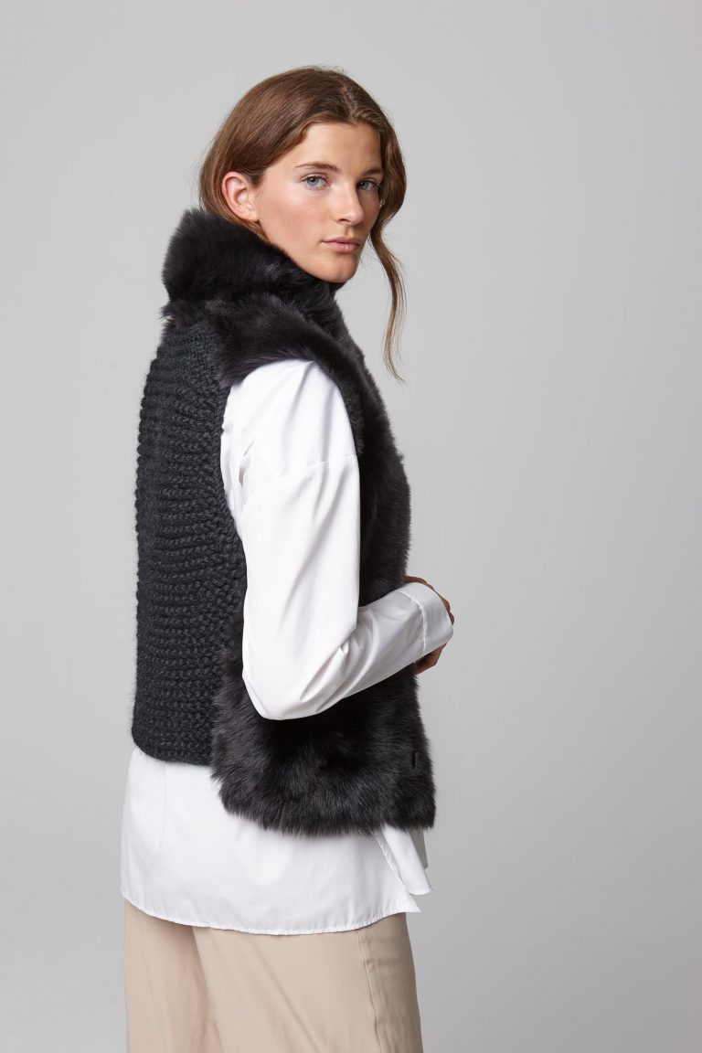 shearling and hand knit gilet in black - women | gushlow and cole - cell image 3