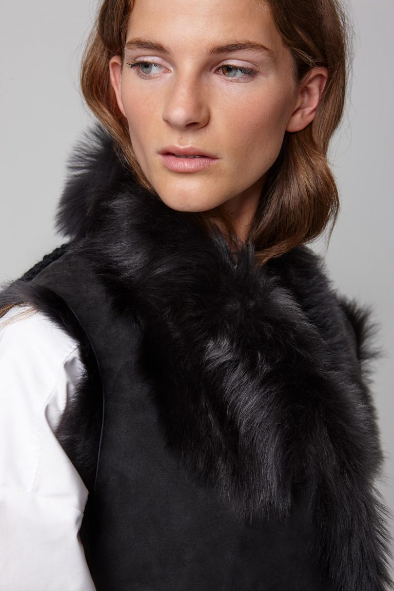 shearling and hand knit gilet in black - women | gushlow and cole - cell image 4