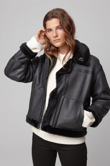 leather trim shearling aviator jacket in black - women | gushlow and cole - cell image 2