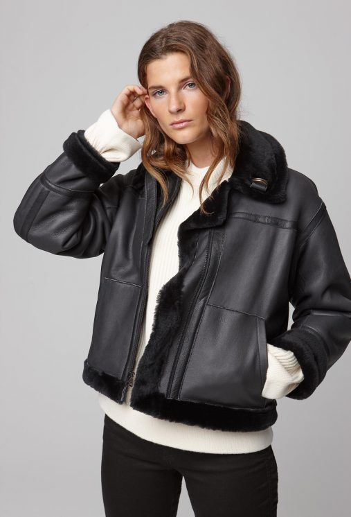 Black Shearling Aviator Jacket Women Gushlow And Cole