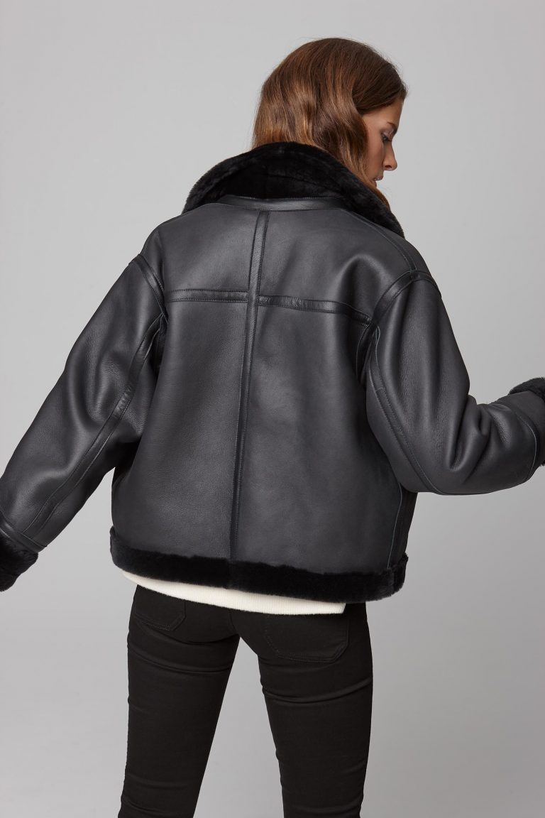 leather trim shearling aviator jacket in black - women | gushlow and cole - cell image 3